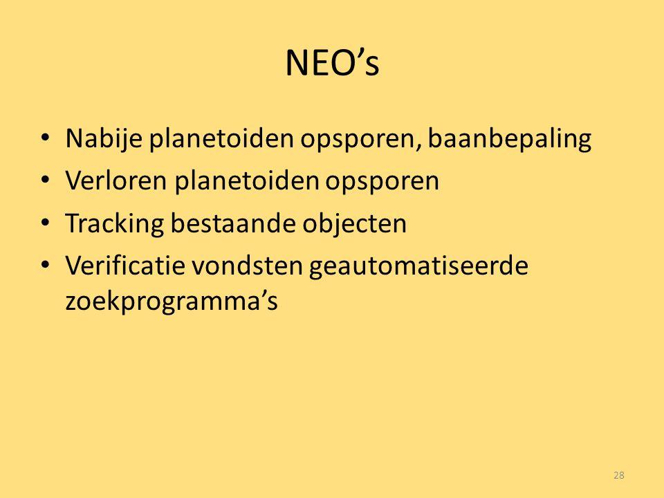 NEO's Nabije planetoiden opsporen, baanbepaling Verloren planetoiden opsporen Tracking bestaande objecten Verificatie vondsten geautomatiseerde zoekprogramma's 28