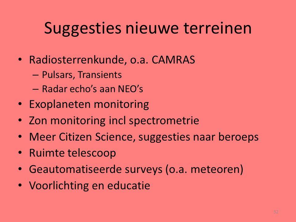 Suggesties nieuwe terreinen Radiosterrenkunde, o.a.