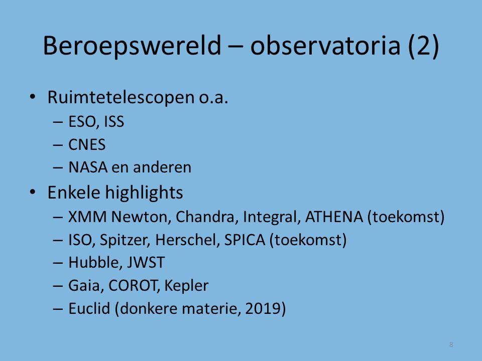 Beroepswereld – observatoria (2) Ruimtetelescopen o.a.