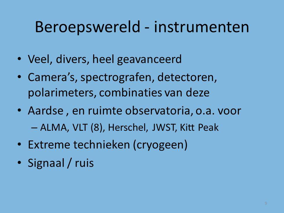 Beroepswereld - instrumenten Veel, divers, heel geavanceerd Camera's, spectrografen, detectoren, polarimeters, combinaties van deze Aardse, en ruimte observatoria, o.a.