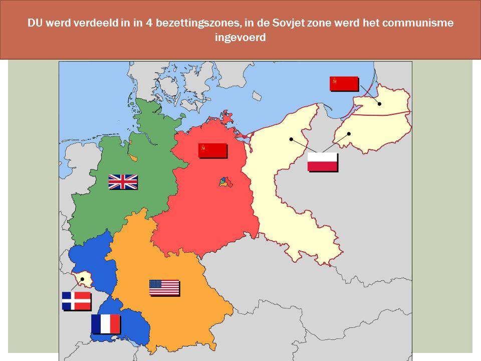 DU werd verdeeld in in 4 bezettingszones, in de Sovjet zone werd het communisme ingevoerd