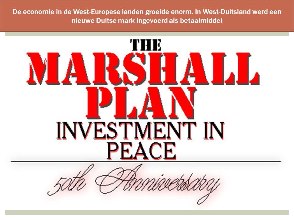 De economie in de West-Europese landen groeide enorm. In West-Duitsland werd een nieuwe Duitse mark ingevoerd als betaalmiddel