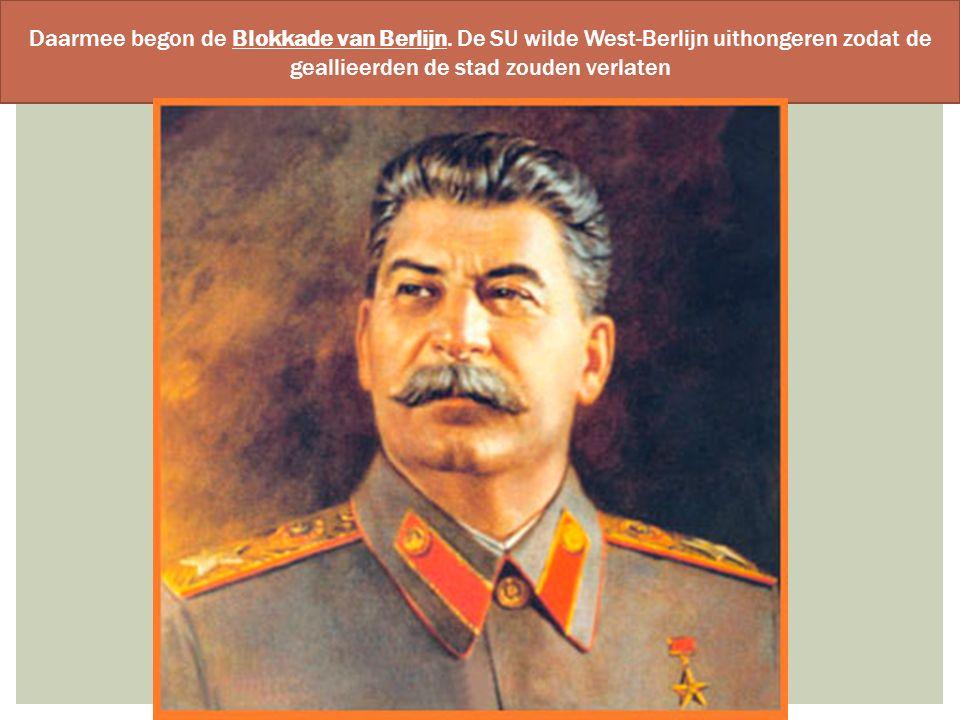 Daarmee begon de Blokkade van Berlijn. De SU wilde West-Berlijn uithongeren zodat de geallieerden de stad zouden verlaten
