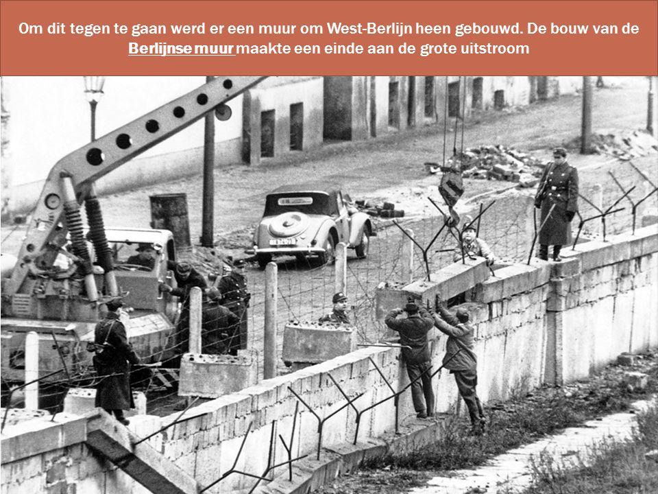 Om dit tegen te gaan werd er een muur om West-Berlijn heen gebouwd. De bouw van de Berlijnse muur maakte een einde aan de grote uitstroom