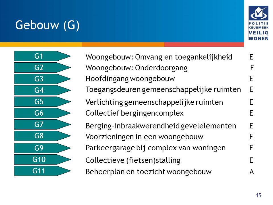 15 Gebouw (G) G2 G3 G4 G5 G6 G7 G8 G9 G10 G11 G1 Woongebouw: Omvang en toegankelijkheid E Woongebouw: Onderdoorgang E Hoofdingang woongebouw E Toegang