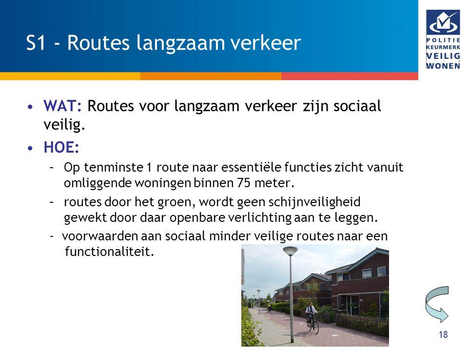 18 S1 - Routes langzaam verkeer WAT: Routes voor langzaam verkeer zijn sociaal veilig. HOE: –Op tenminste 1 route naar essentiële functies zicht vanui