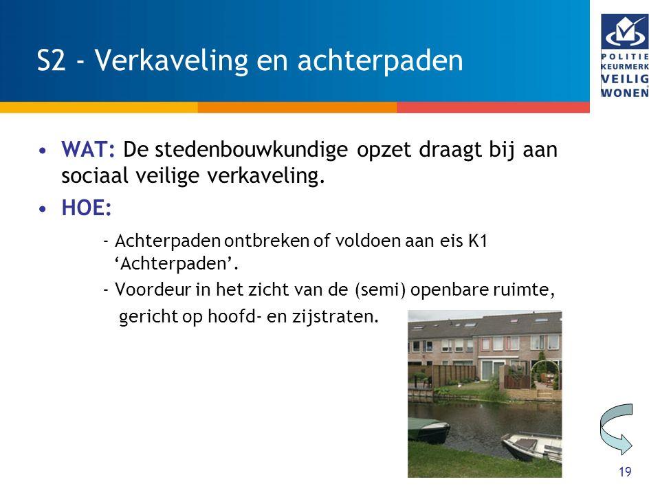 19 S2 - Verkaveling en achterpaden WAT: De stedenbouwkundige opzet draagt bij aan sociaal veilige verkaveling. HOE: - Achterpaden ontbreken of voldoen