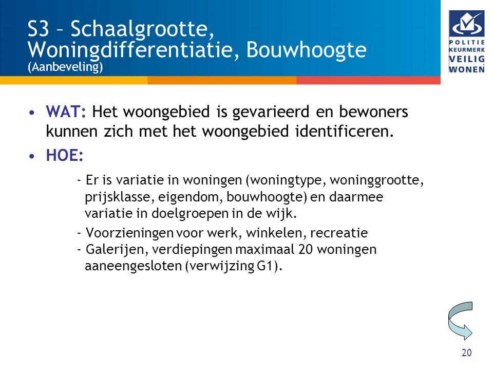 20 S3 – Schaalgrootte, Woningdifferentiatie, Bouwhoogte (Aanbeveling) WAT: Het woongebied is gevarieerd en bewoners kunnen zich met het woongebied ide