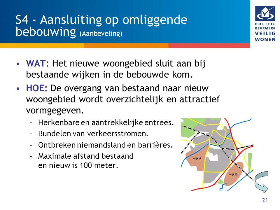 21 S4 - Aansluiting op omliggende bebouwing (Aanbeveling) WAT: Het nieuwe woongebied sluit aan bij bestaande wijken in de bebouwde kom. HOE: De overga