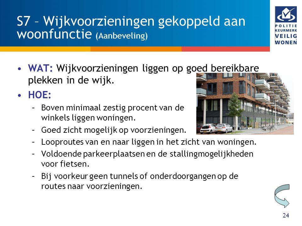 24 S7 – Wijkvoorzieningen gekoppeld aan woonfunctie (Aanbeveling) WAT: Wijkvoorzieningen liggen op goed bereikbare plekken in de wijk. HOE: –Boven min