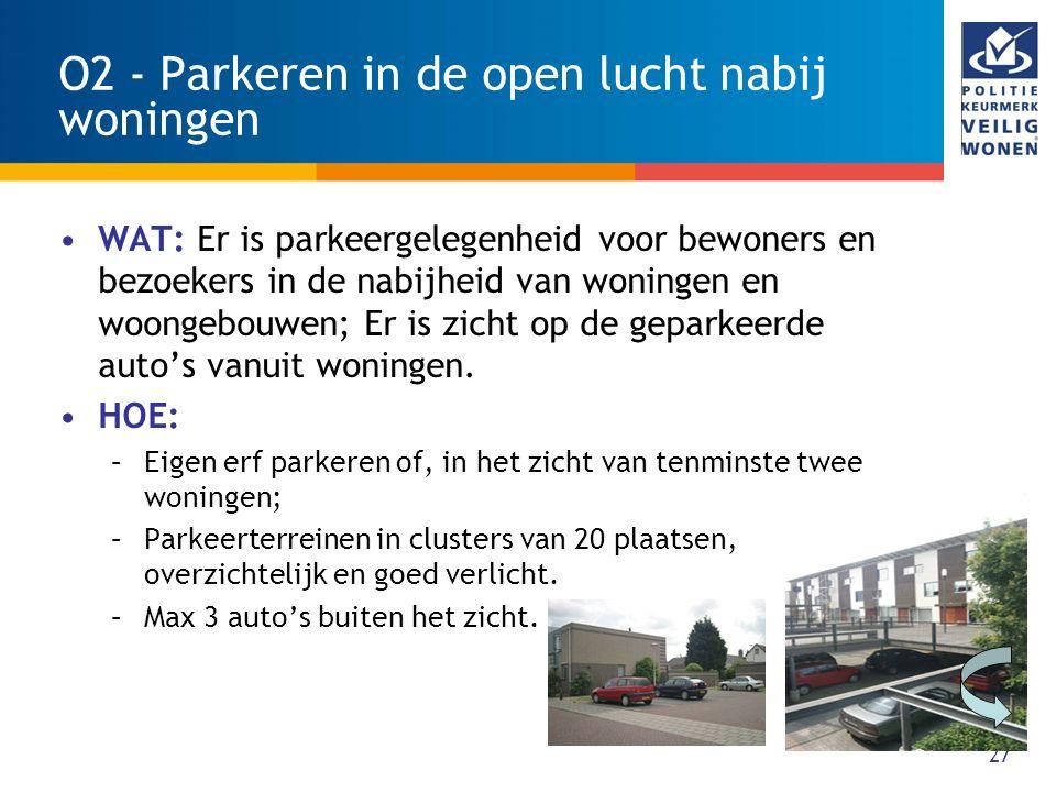 27 O2 - Parkeren in de open lucht nabij woningen WAT: Er is parkeergelegenheid voor bewoners en bezoekers in de nabijheid van woningen en woongebouwen; Er is zicht op de geparkeerde auto's vanuit woningen.