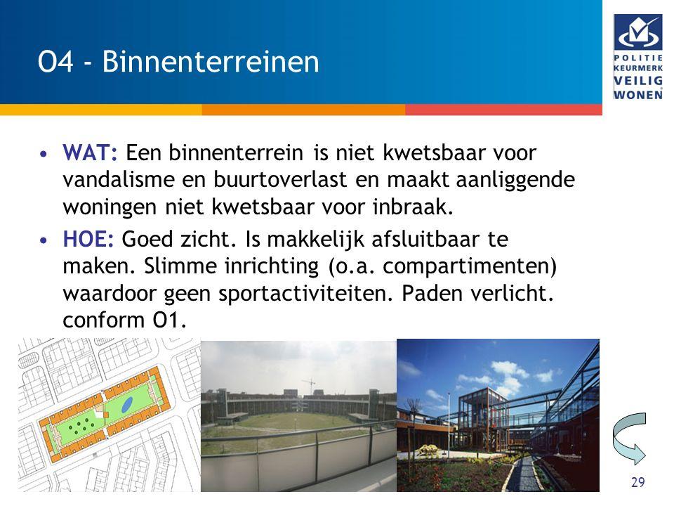 29 O4 - Binnenterreinen WAT: Een binnenterrein is niet kwetsbaar voor vandalisme en buurtoverlast en maakt aanliggende woningen niet kwetsbaar voor in