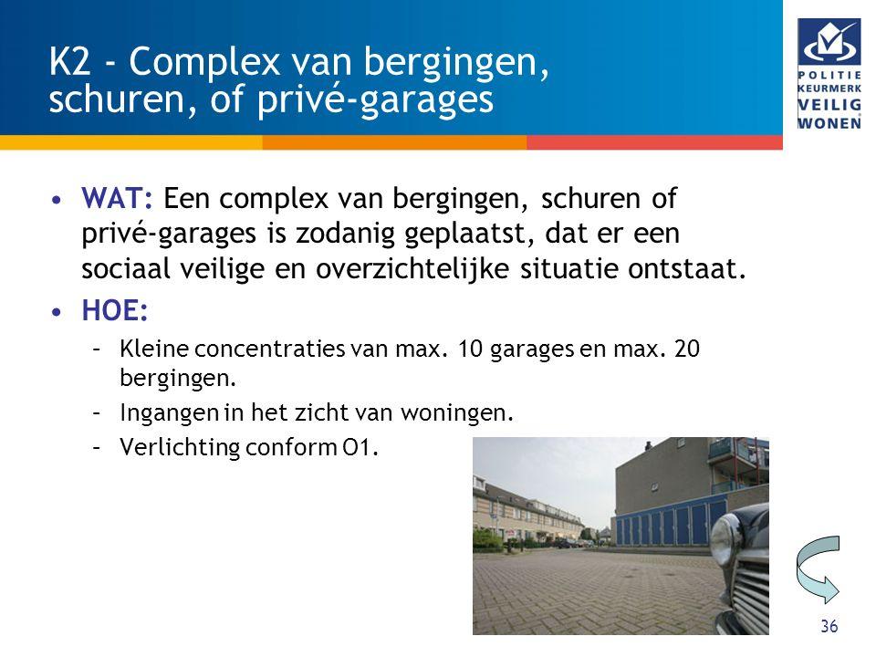 36 K2 - Complex van bergingen, schuren, of privé-garages WAT: Een complex van bergingen, schuren of privé-garages is zodanig geplaatst, dat er een sociaal veilige en overzichtelijke situatie ontstaat.