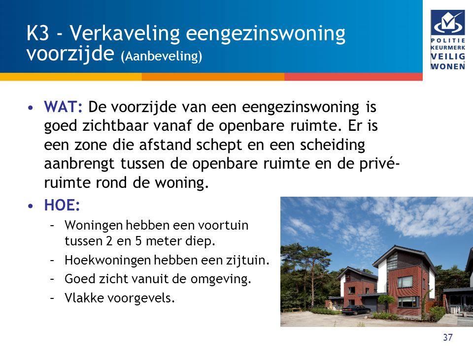 37 K3 - Verkaveling eengezinswoning voorzijde (Aanbeveling) WAT: De voorzijde van een eengezinswoning is goed zichtbaar vanaf de openbare ruimte. Er i