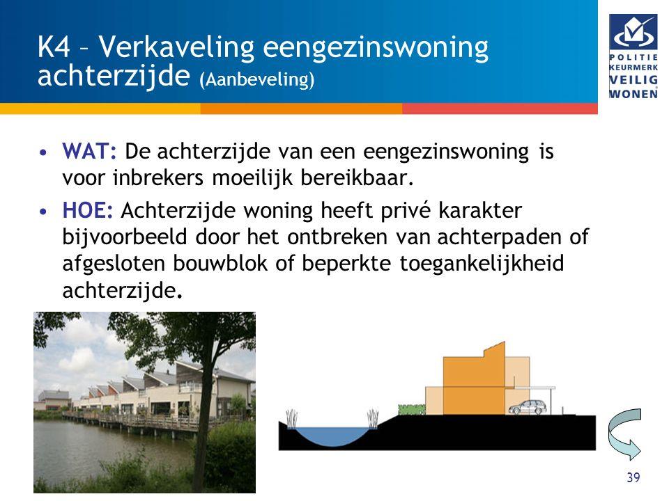 40 K5 - Verkaveling en situering woongebouwen (Aanbeveling) WAT: De situering van het woongebouw is overzichtelijk en sociaal veilig.
