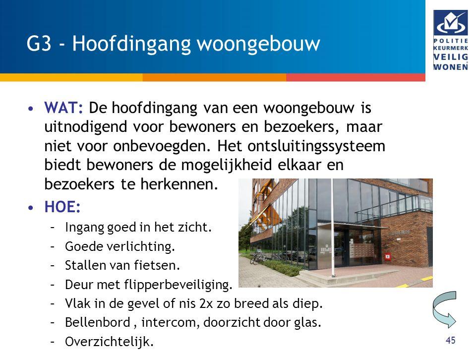 45 G3 - Hoofdingang woongebouw WAT: De hoofdingang van een woongebouw is uitnodigend voor bewoners en bezoekers, maar niet voor onbevoegden. Het ontsl