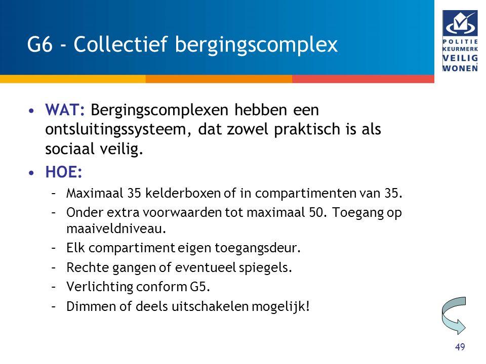 49 G6 - Collectief bergingscomplex WAT: Bergingscomplexen hebben een ontsluitingssysteem, dat zowel praktisch is als sociaal veilig. HOE: –Maximaal 35