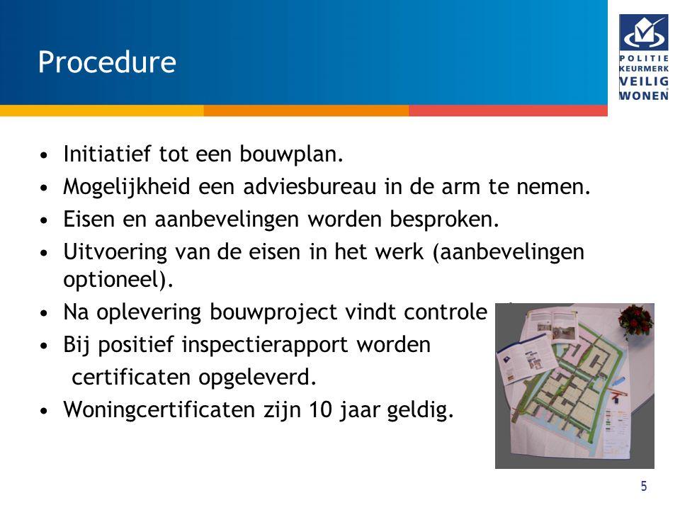 5 Procedure Initiatief tot een bouwplan. Mogelijkheid een adviesbureau in de arm te nemen. Eisen en aanbevelingen worden besproken. Uitvoering van de