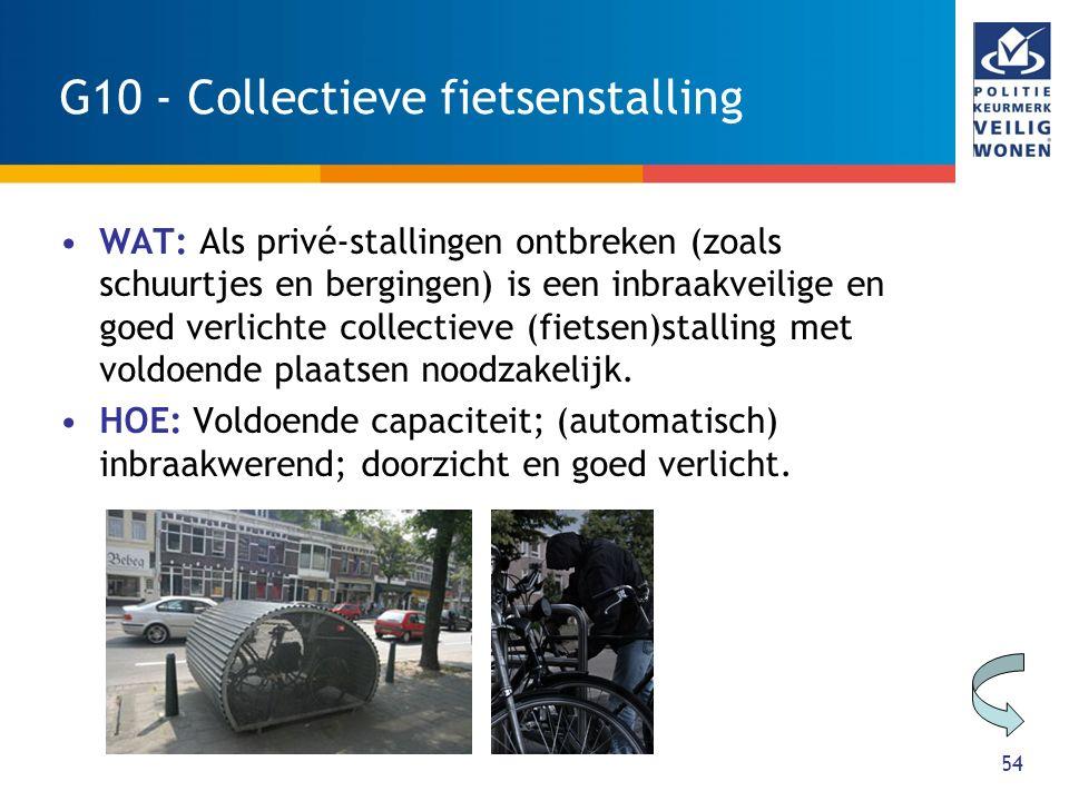 54 G10 - Collectieve fietsenstalling WAT: Als privé-stallingen ontbreken (zoals schuurtjes en bergingen) is een inbraakveilige en goed verlichte collectieve (fietsen)stalling met voldoende plaatsen noodzakelijk.