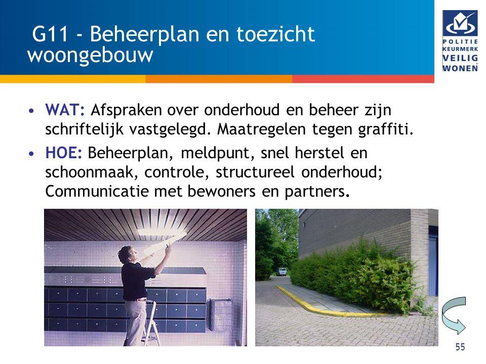 55 G11 - Beheerplan en toezicht woongebouw WAT: Afspraken over onderhoud en beheer zijn schriftelijk vastgelegd. Maatregelen tegen graffiti. HOE: Behe