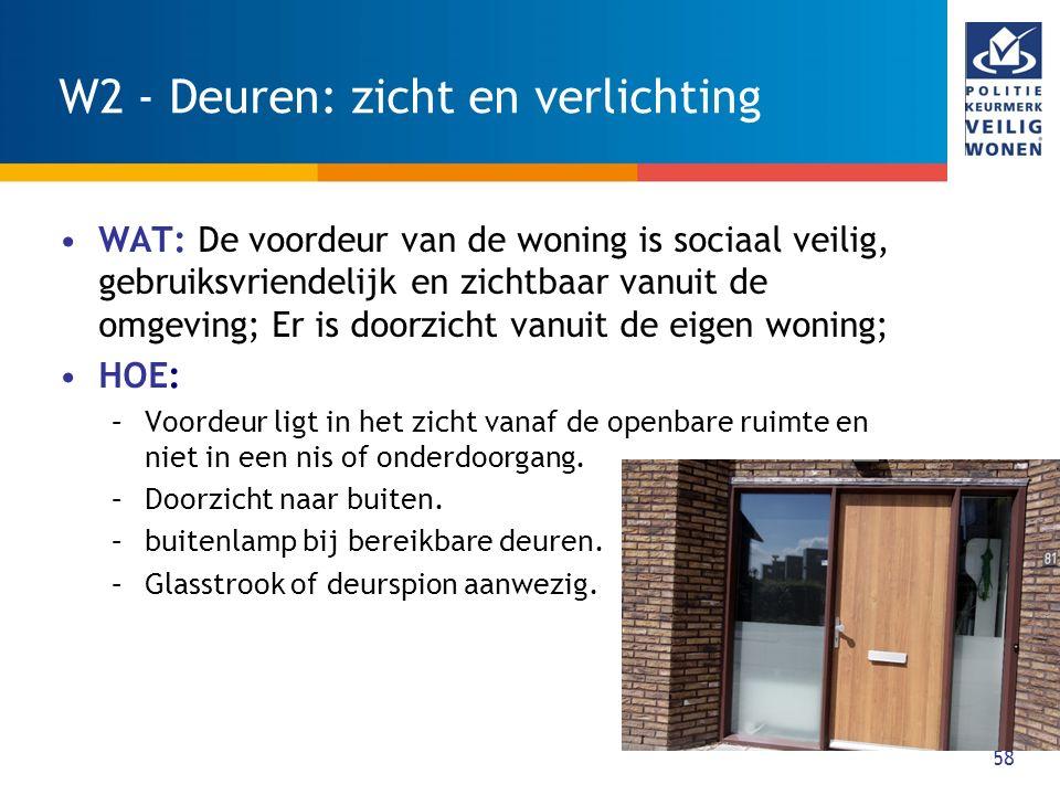 58 W2 - Deuren: zicht en verlichting WAT: De voordeur van de woning is sociaal veilig, gebruiksvriendelijk en zichtbaar vanuit de omgeving; Er is door