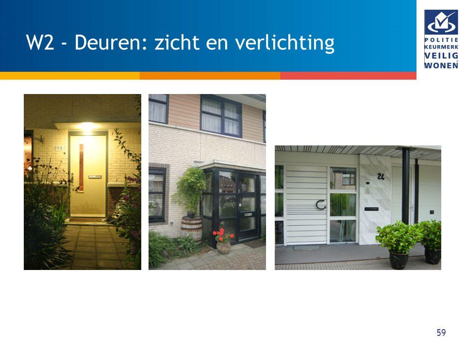 60 W3 - Deuren: inbraakwerendheid WAT: Alle bereikbare gevelelementen met deuren die toegang geven tot de woning zijn tenminste drie minuten inbraakwerend maar wel gebruiksvriendelijk.