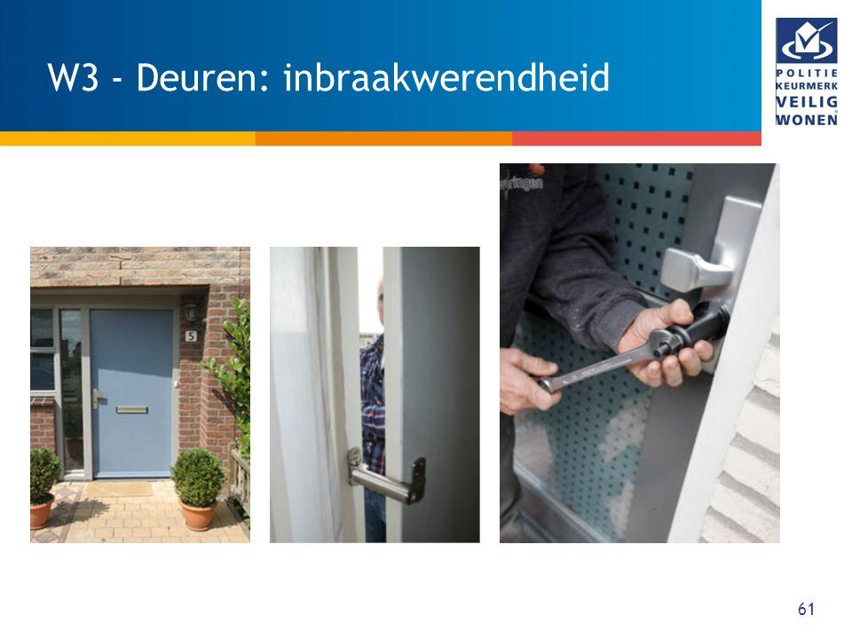 62 W4 - Ramen en ventilatieopeningen: inbraakwerendheid WAT: Alle bereikbare gevelelementen met ramen, die toegang geven tot de woning, zijn tenminste drie minuten inbraakwerend, maar wel gebruiksvriendelijk.