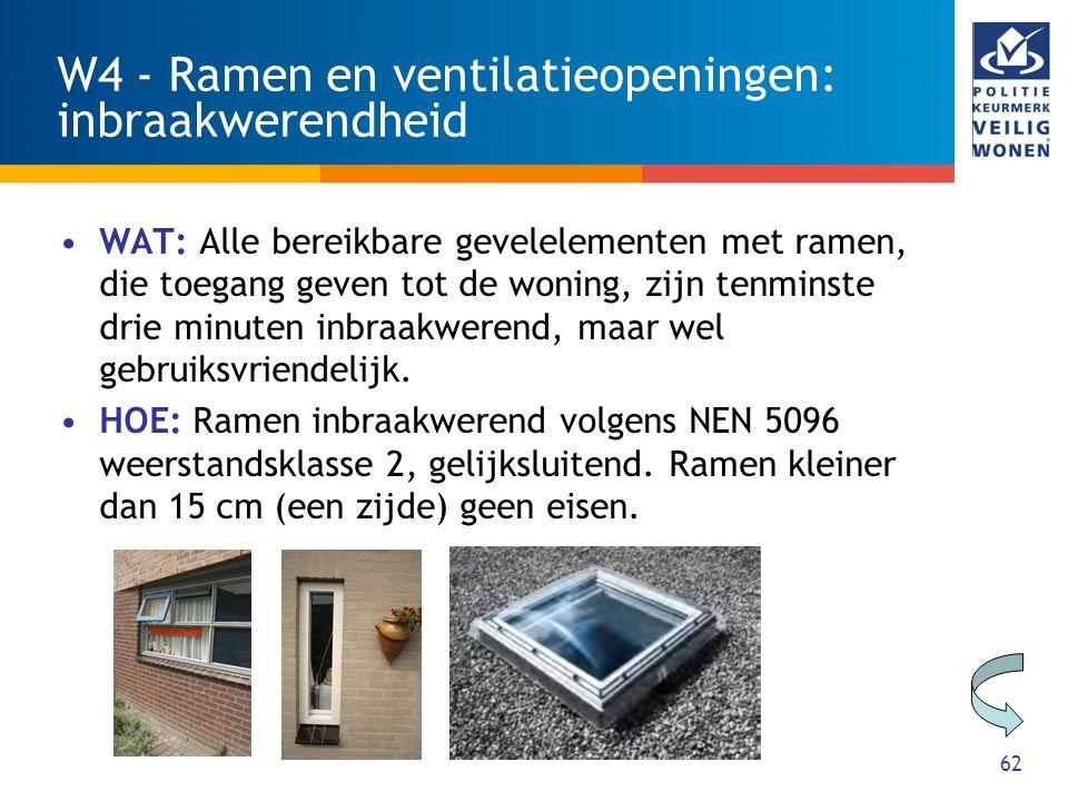 62 W4 - Ramen en ventilatieopeningen: inbraakwerendheid WAT: Alle bereikbare gevelelementen met ramen, die toegang geven tot de woning, zijn tenminste