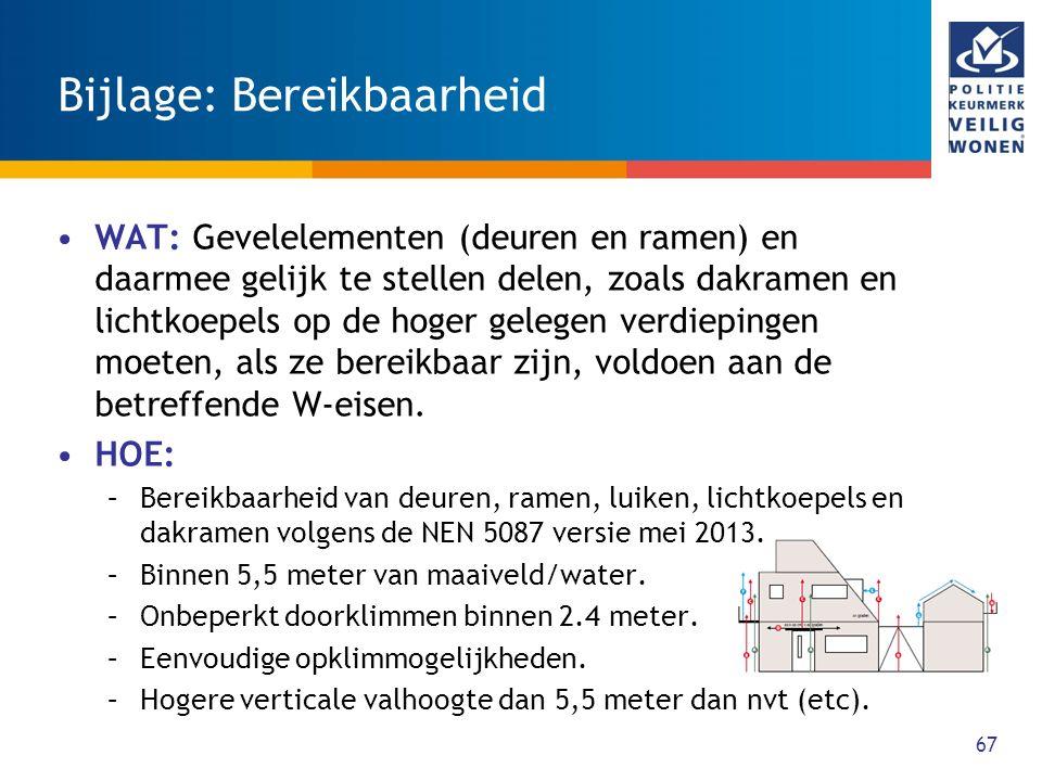 67 Bijlage: Bereikbaarheid WAT: Gevelelementen (deuren en ramen) en daarmee gelijk te stellen delen, zoals dakramen en lichtkoepels op de hoger gelegen verdiepingen moeten, als ze bereikbaar zijn, voldoen aan de betreffende W-eisen.