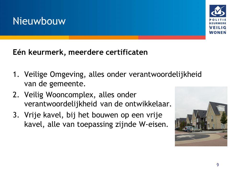 Nieuwbouw Eén keurmerk, meerdere certificaten 1.Veilige Omgeving, alles onder verantwoordelijkheid van de gemeente. 2.Veilig Wooncomplex, alles onder