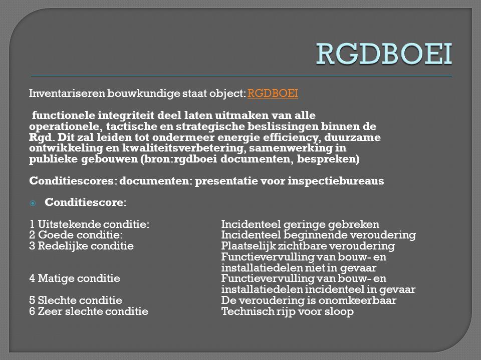 Inventariseren bouwkundige staat object: RGDBOEIRGDBOEI functionele integriteit deel laten uitmaken van alle operationele, tactische en strategische b
