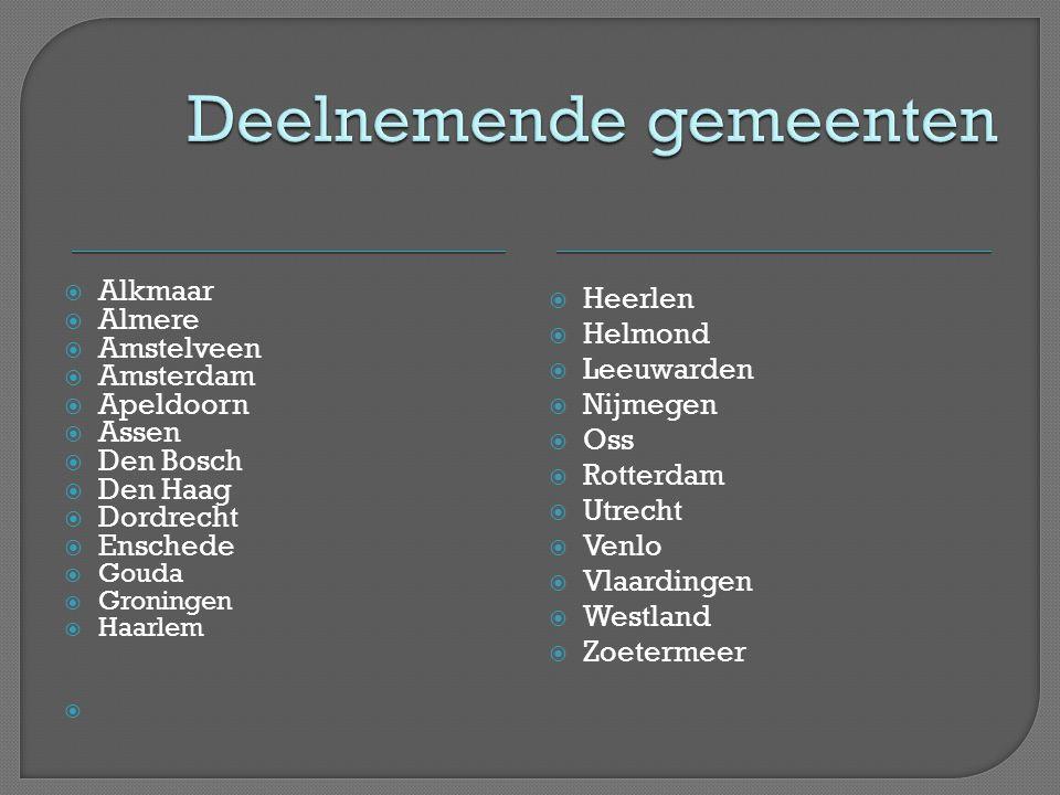  Alkmaar  Almere  Amstelveen  Amsterdam  Apeldoorn  Assen  Den Bosch  Den Haag  Dordrecht  Enschede  Gouda  Groningen  Haarlem   Heerle