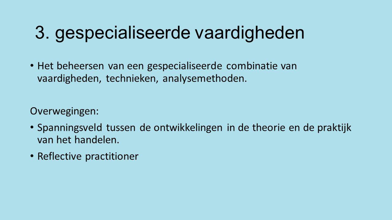 3. gespecialiseerde vaardigheden Het beheersen van een gespecialiseerde combinatie van vaardigheden, technieken, analysemethoden. Overwegingen: Spanni