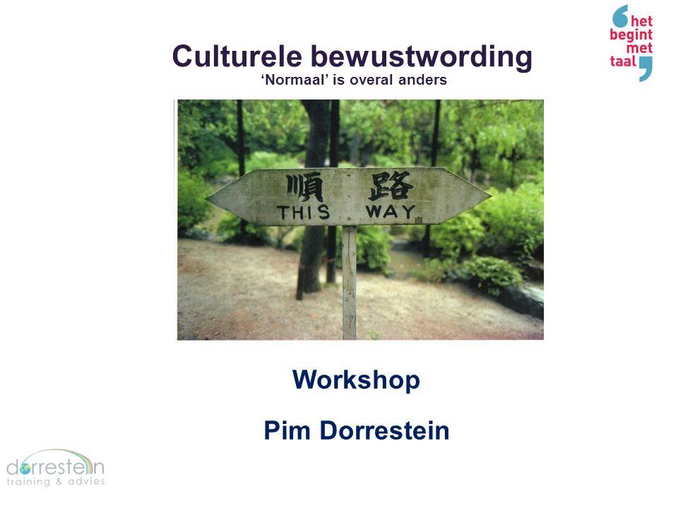 Culturele bewustwording 'Normaal' is overal anders Workshop Pim Dorrestein