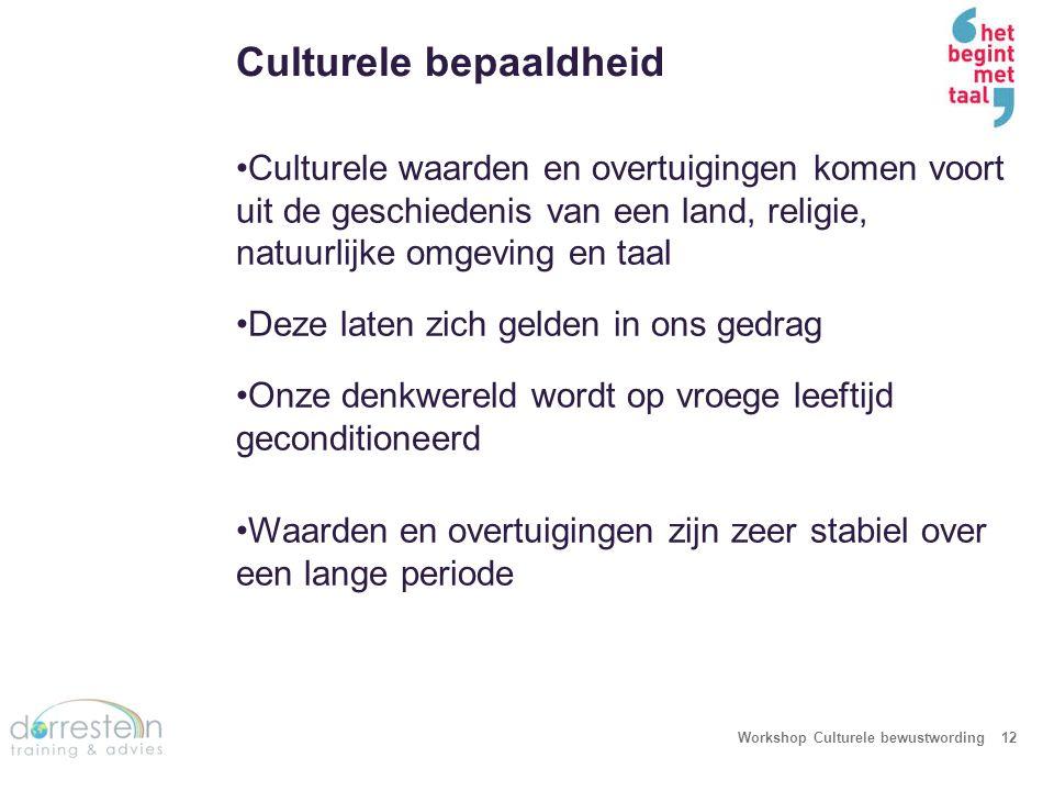 Culturele bepaaldheid Workshop Culturele bewustwording12 Culturele waarden en overtuigingen komen voort uit de geschiedenis van een land, religie, nat