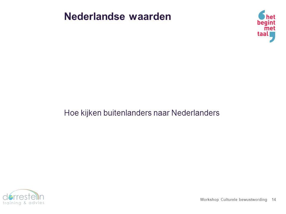Nederlandse waarden Workshop Culturele bewustwording14 Hoe kijken buitenlanders naar Nederlanders
