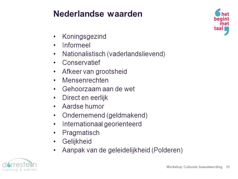 Nederlandse waarden Workshop Culturele bewustwording15 Koningsgezind Informeel Nationalistisch (vaderlandslievend) Conservatief Afkeer van grootsheid