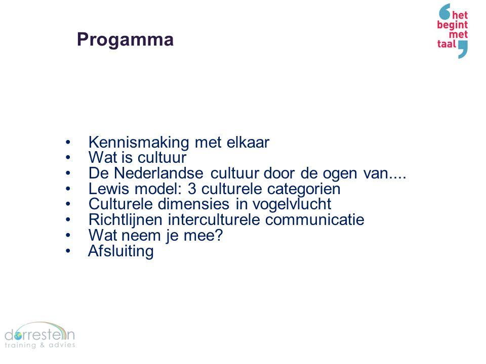 Progamma Kennismaking met elkaar Wat is cultuur De Nederlandse cultuur door de ogen van.... Lewis model: 3 culturele categorien Culturele dimensies in