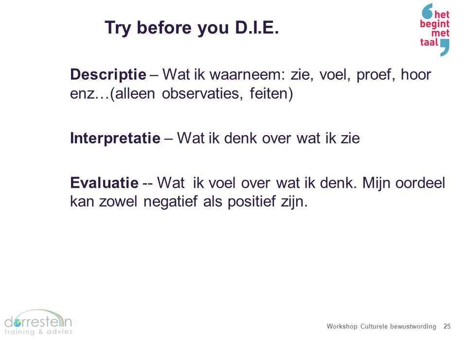 Try before you D.I.E. Workshop Culturele bewustwording25 Descriptie – Wat ik waarneem: zie, voel, proef, hoor enz…(alleen observaties, feiten) Interpr