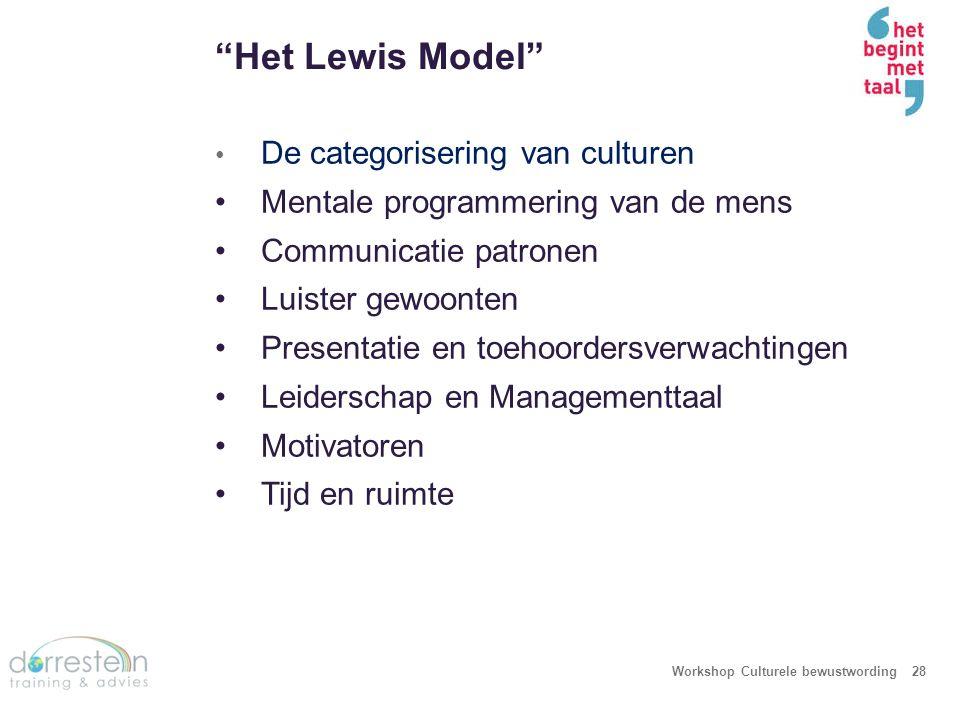 """""""Het Lewis Model"""" Workshop Culturele bewustwording28 De categorisering van culturen Mentale programmering van de mens Communicatie patronen Luister ge"""