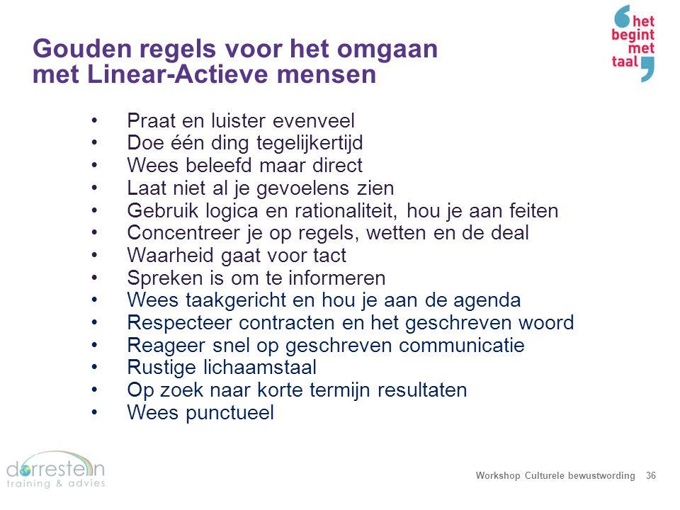 Gouden regels voor het omgaan met Linear-Actieve mensen Workshop Culturele bewustwording36 Praat en luister evenveel Doe één ding tegelijkertijd Wees