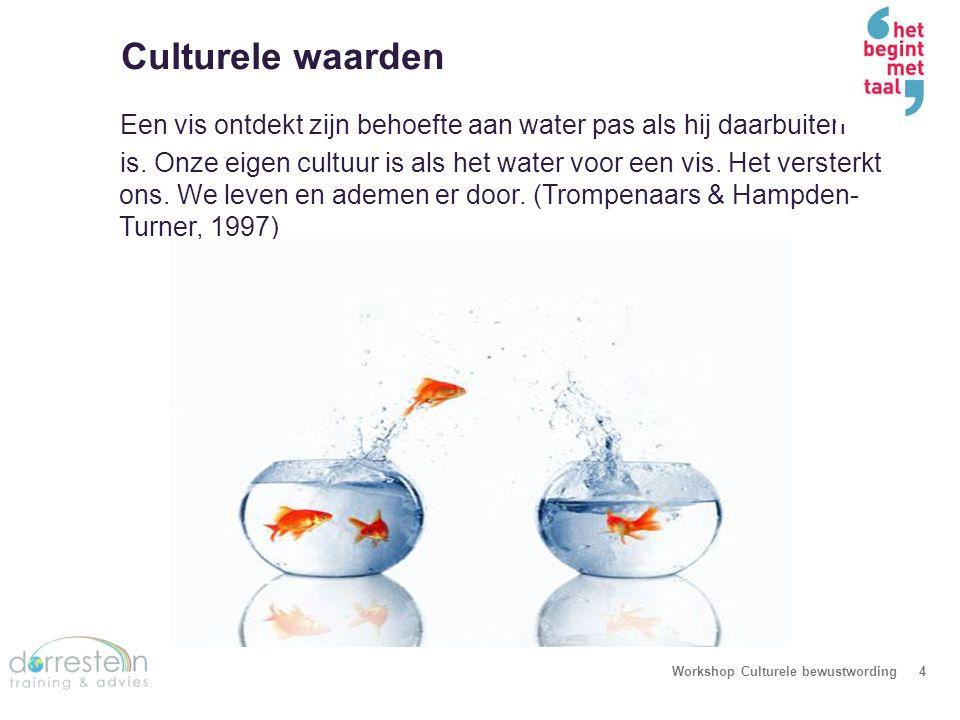 Culturele waarden Workshop Culturele bewustwording4 Een vis ontdekt zijn behoefte aan water pas als hij daarbuiten is. Onze eigen cultuur is als het w
