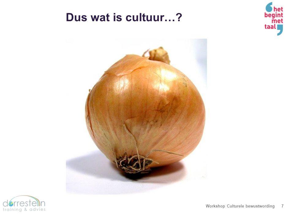 Dus wat is cultuur…? Workshop Culturele bewustwording7