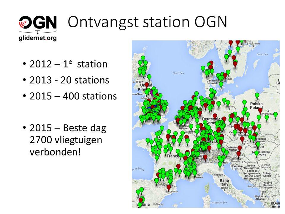 Ontvangst station OGN 2012 – 1 e station 2013 - 20 stations 2015 – 400 stations 2015 – Beste dag 2700 vliegtuigen verbonden!