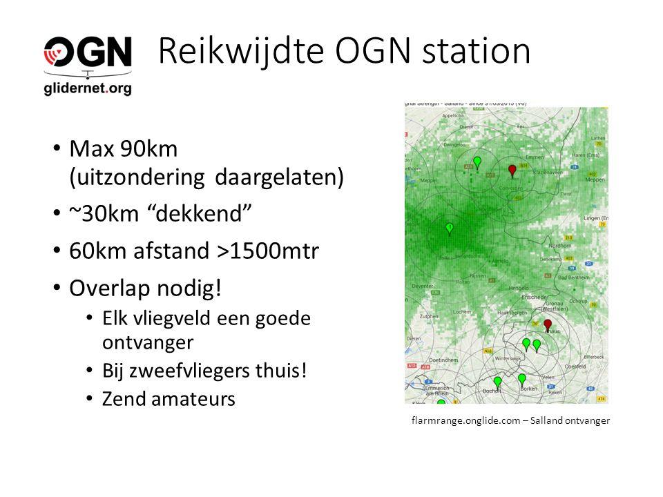 Reikwijdte OGN station Max 90km (uitzondering daargelaten) ~30km dekkend 60km afstand >1500mtr Overlap nodig.