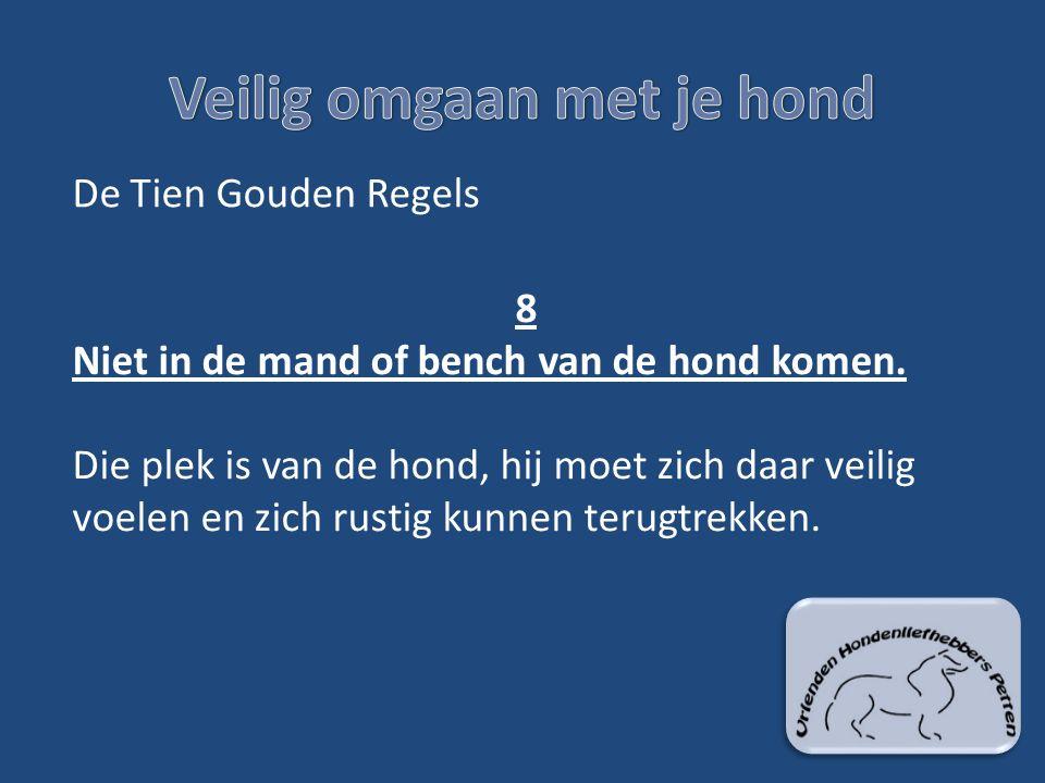 De Tien Gouden Regels 8 Niet in de mand of bench van de hond komen. Die plek is van de hond, hij moet zich daar veilig voelen en zich rustig kunnen te