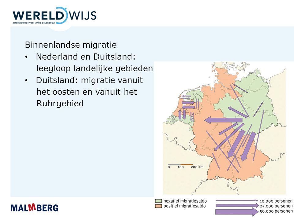 Binnenlandse migratie Nederland en Duitsland: leegloop landelijke gebieden Duitsland: migratie vanuit het oosten en vanuit het Ruhrgebied