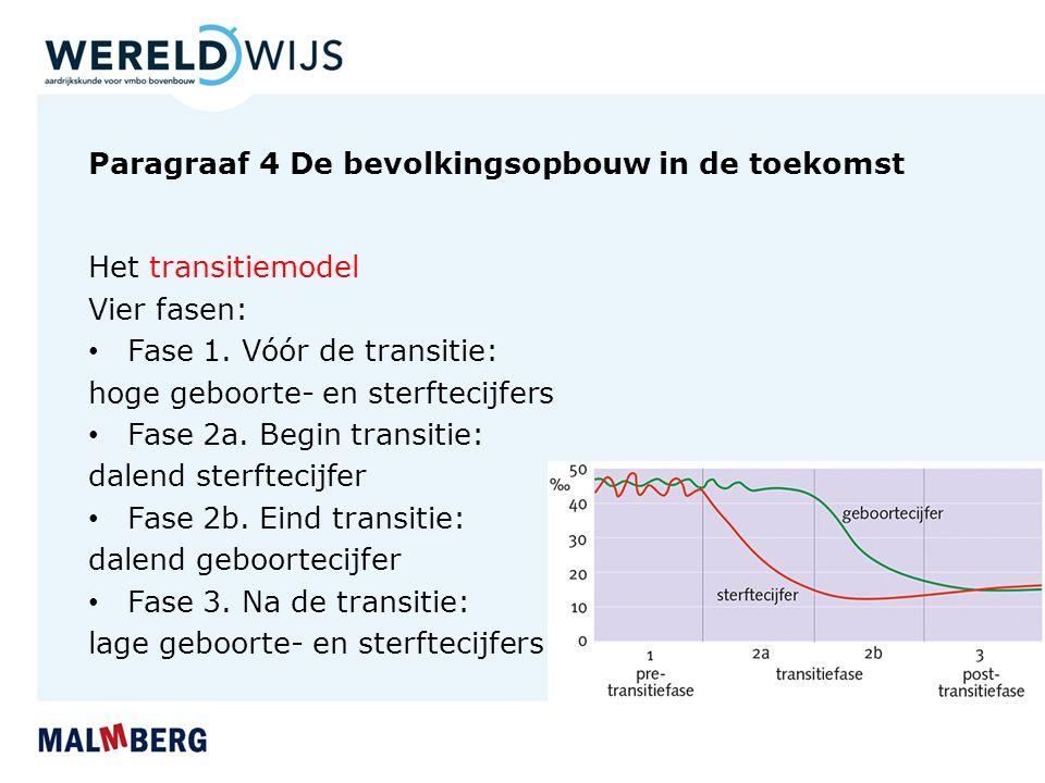 Paragraaf 4 De bevolkingsopbouw in de toekomst Het transitiemodel Vier fasen: Fase 1. Vóór de transitie: hoge geboorte- en sterftecijfers Fase 2a. Beg