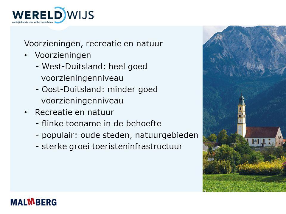 Voorzieningen, recreatie en natuur Voorzieningen - West-Duitsland: heel goed voorzieningenniveau - Oost-Duitsland: minder goed voorzieningenniveau Rec