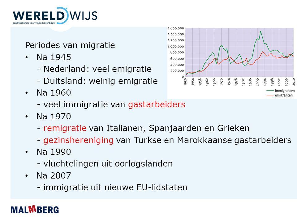 Periodes van migratie Na 1945 - Nederland: veel emigratie - Duitsland: weinig emigratie Na 1960 - veel immigratie van gastarbeiders Na 1970 - remigrat